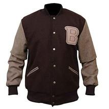 Mens Hotline Miami Brown Appealing Woolen Bomber Varsity Jacket image 1