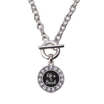 Inspired Silver Life Is A Beach Circle Charm Toggle Necklace Clear Cryst... - $13.71