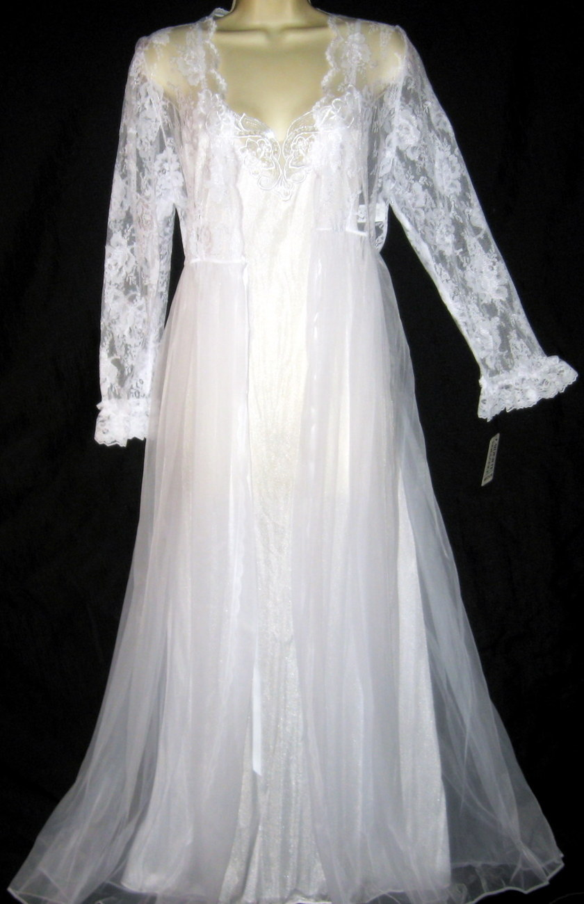 Venise Lace White Bridal Robe & Gown Set M
