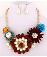 Chunky statement flower necklace set  ivory, brown & turquoise color acr... - $26.00