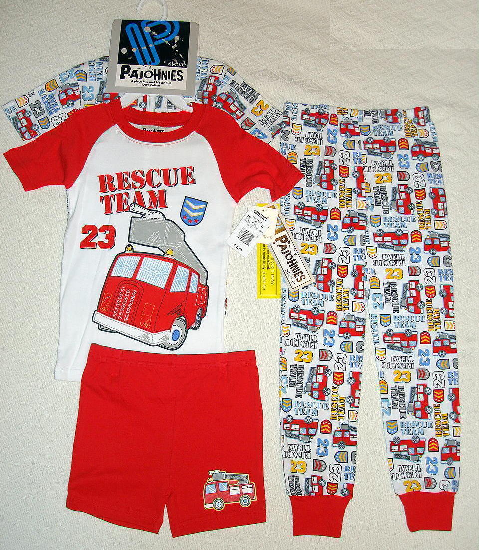 Primary image for PAJohnies 4 Piece Sleepwear Pajama Set Shirt Shorts Pants Boys 6 Rescue Team