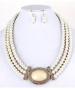 Cream pearl necklace earring set layered wedding jewelry mother of the b... - $20.68