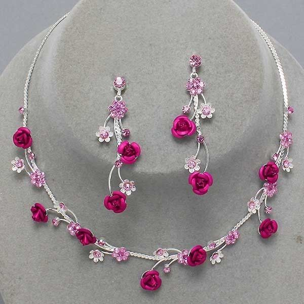 Fuchsia Pink Flower Crystal Bridesmaid Prom Wedding Necklace Earring Set