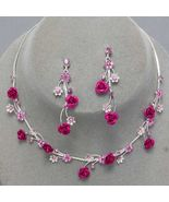 Fuchsia Pink Flower Crystal Bridesmaid Prom Wedding Necklace Earring Set - $19.79