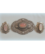 Sadie Green Victorian Pink Moonstone Pin & Earr... - $44.99