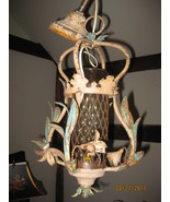 Vintage porch fixture with amber glass - $165.00