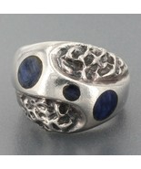 Vintage Signed Mateo Taxco Mexican 950 Silver Lapis Inlay Modernist Ring... - $36.99