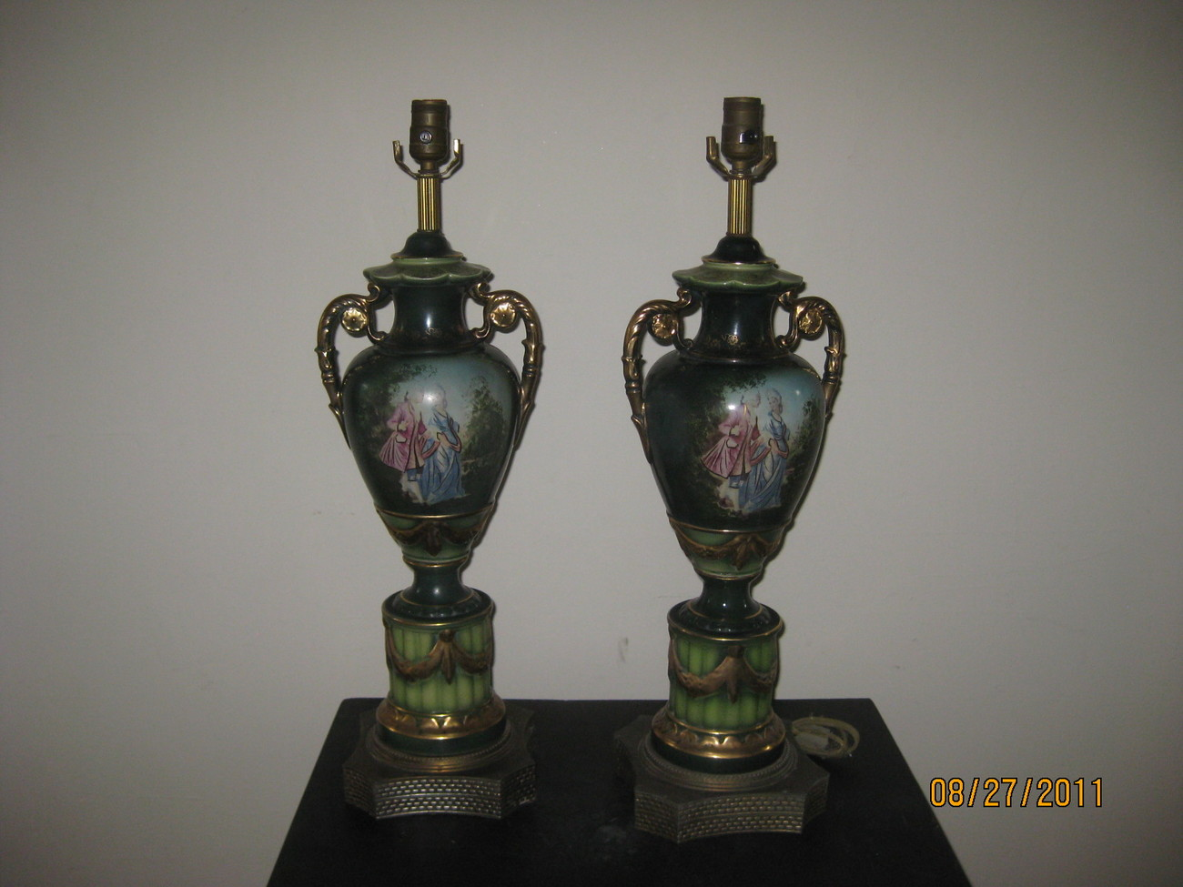 Pair of Vintage Classical Green table lamps