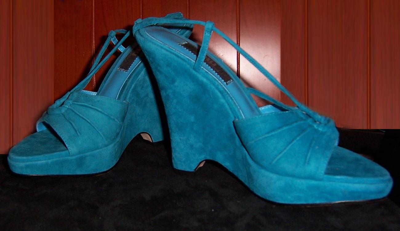 J LO suede wedge shoes in deep marine blue 8