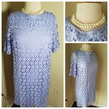 Tahari ASL Petite Women's Dress Purple Floral Lace Eyelet Shift Short Sl... - $80.90