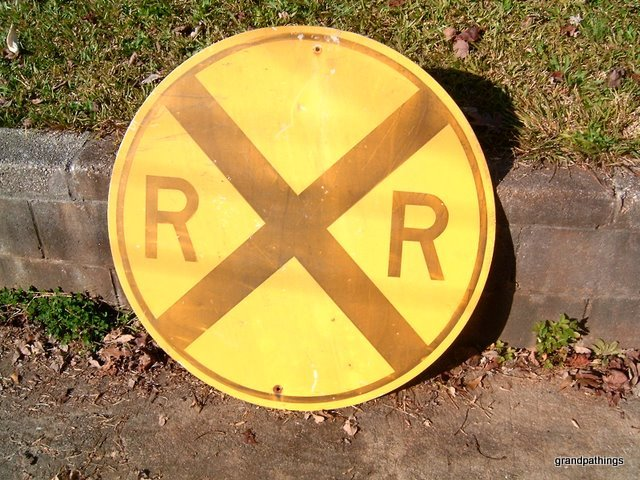 Antique Metal Tin RR Railroad Train Track Crossing Street Sign locomotive engine