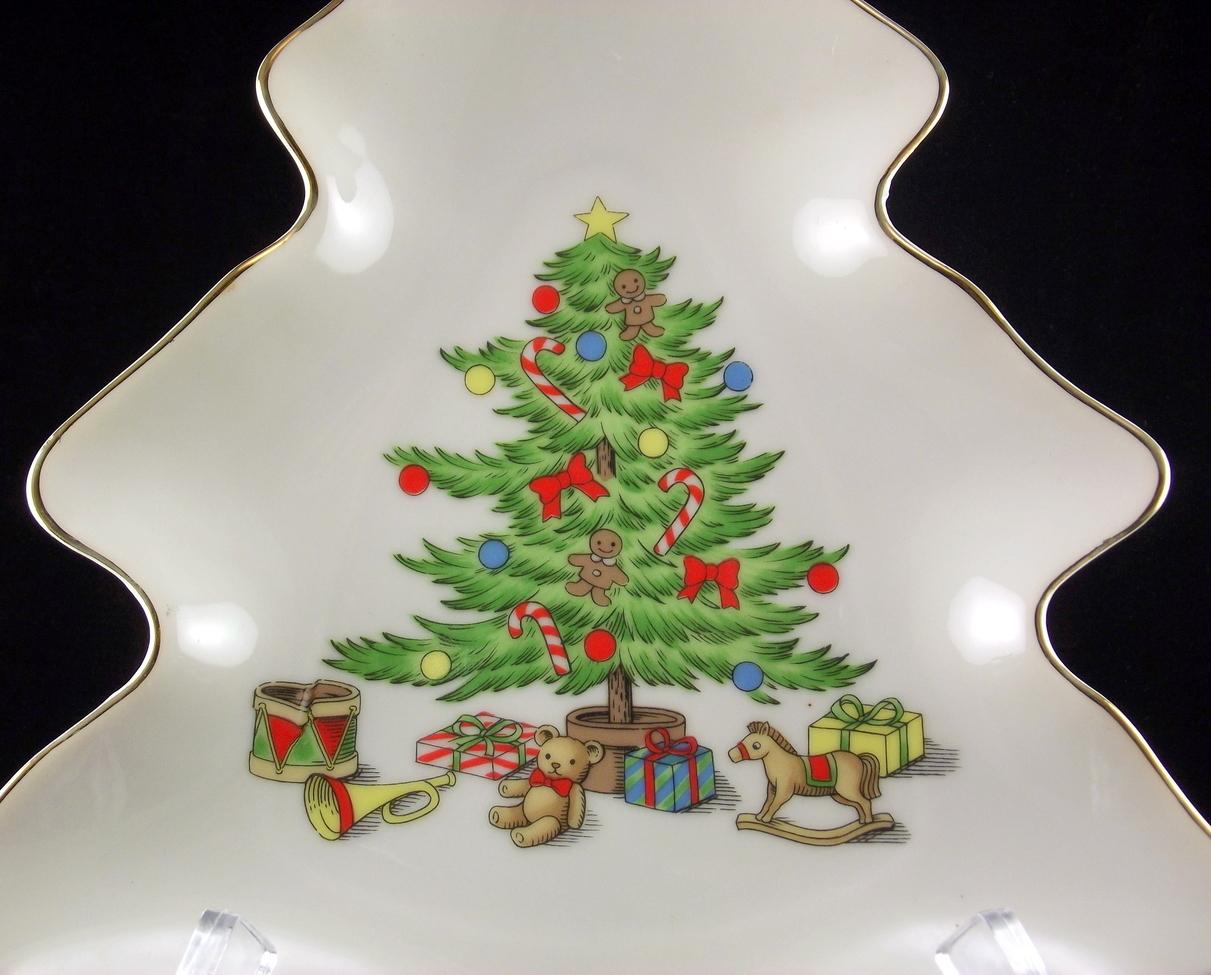 """Tienshan Holiday Hostess Christmas tree candy dish Japan 8.5"""""""