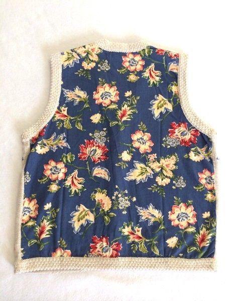 Marisa Christina S M Blue Floral Fabric Back Tan Oatmeal Sweater Vest image 4