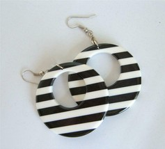 Vintage Black and White Striped Lucite Earrings Laminate MOD Circle Hoop... - $19.79