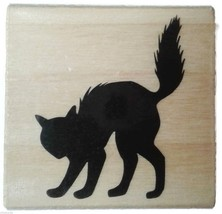 Scaredy Cat Arched back Pounce Halloween Rubber Stamp Wood Mount NEW - $3.00