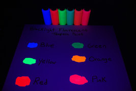 6 Pack 2oz Assorted Blacklight Reactive Fluorescent Tempera Paint - $21.95