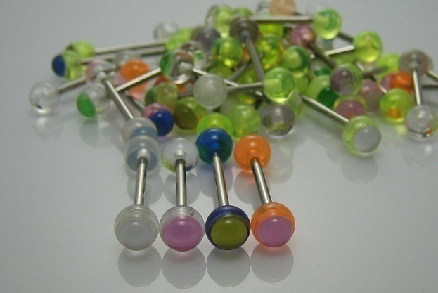 TONGUE BARBELLS BODY PIERCING 5/8 PURPLE/YELLOW CATEYE #549C