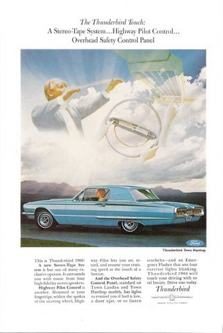 1966 Ford Thunderbird t-bird Town Hardtop car photo print ad