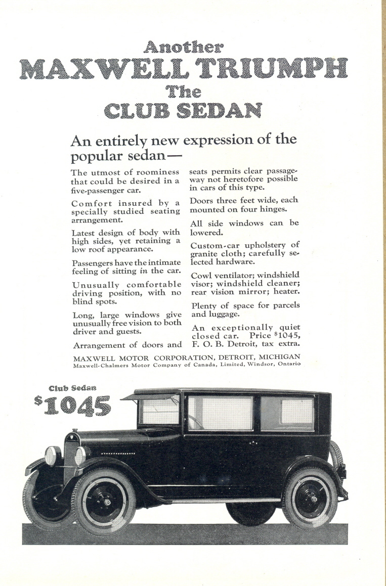 1923 Mazwell Chalmers Club Sedan Car print ad