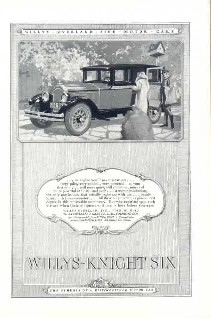 1926 Willys Knight Six Automobile vintage car print ad