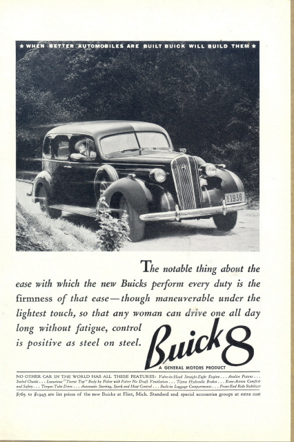 1936 General Motors Buick 8 Automobile car print ad