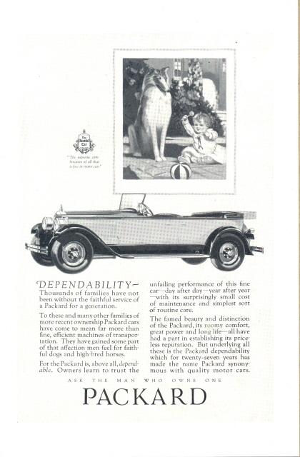 1927 Packard Automobile Car Collies with baby art print ad