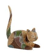 Cat Bobblehead Handmade Wood Statue Figurine Bobble Head Nodder Animals - $20.30