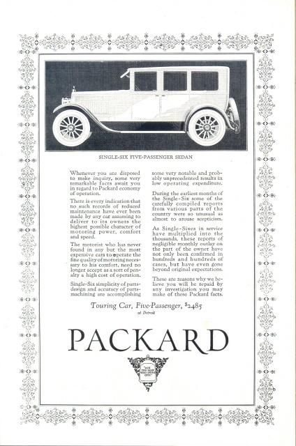 1923 Gorgeous Packard Single Six Sedan vintage print ad