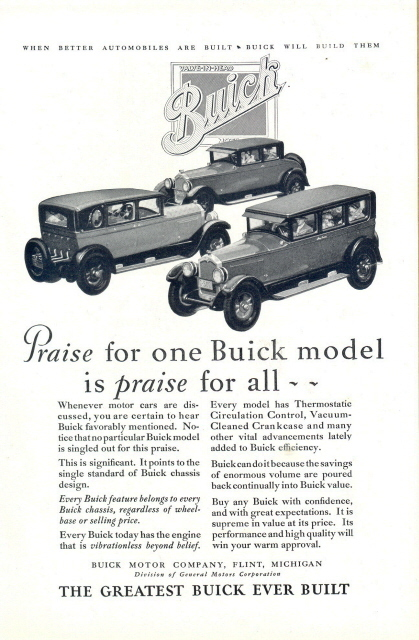1927 BUICK Car Praise for one Praise for All print ad