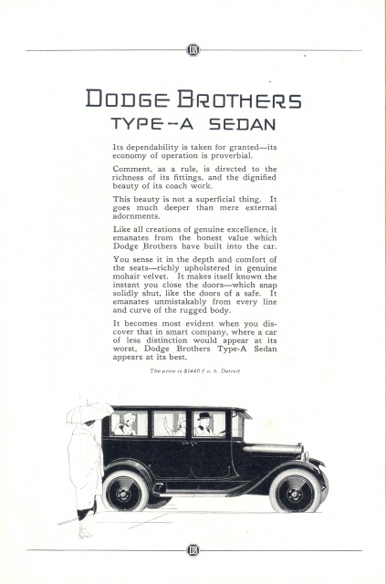 1923 Dodge Brothers Type-A Sedan Vintage car print ad