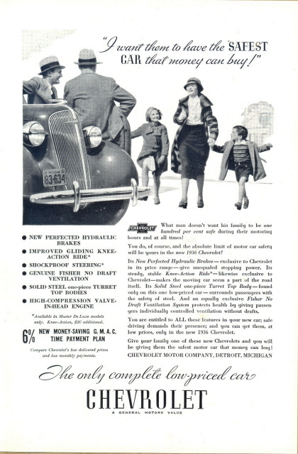 1936 Chevrolet Automobile happy family print ad