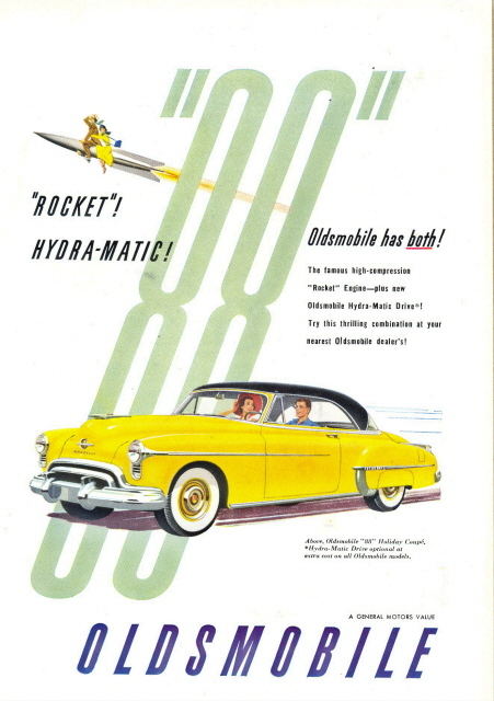 1950 Yellow Oldsmobile 88 Rocket Hydra-Matic print ad