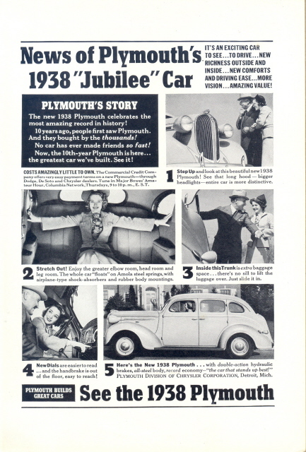 1938 Plymouth News of the Jubilee Car print ad