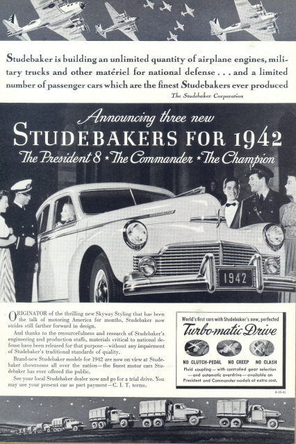 1941 3 new Studebakers model for 1942 print ad