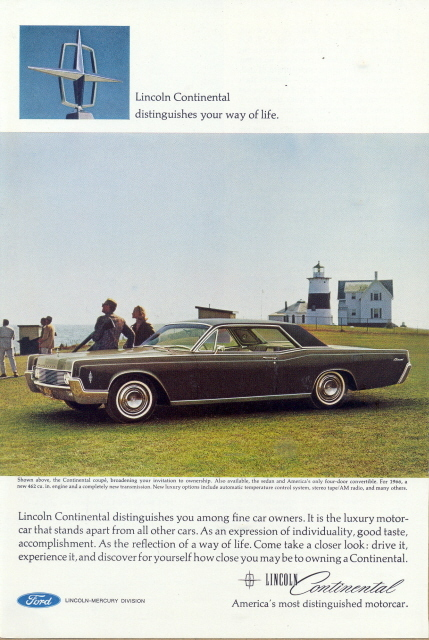 1966 Lincoln Continental Coupe Vintage Car print ad