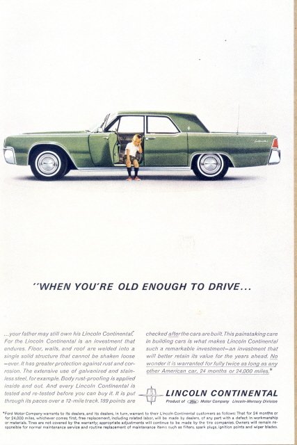 1962 Lincoln Continental Car with small boy print ad