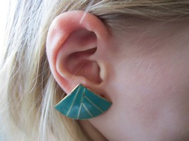 Vintage Aqua Green 80's Asian Japanese Fan Enamel Clip-On Fashion Statem... - $14.99