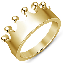 Vintage Crown Simple Design 14K Yellow Gold Plated 925 Sterling Silver Mens Ring - £55.81 GBP