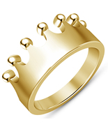 Vintage Crown Simple Design 14K Yellow Gold Plated 925 Sterling Silver M... - $68.99