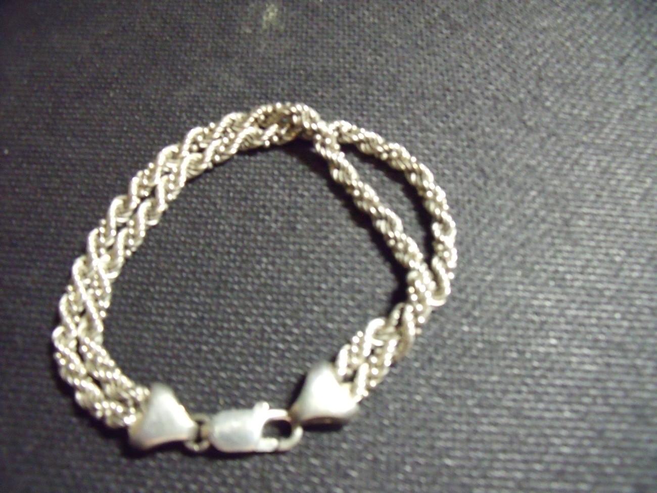 Vintage Sterling Silver Double Rope Bracelet