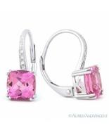 2.65ct Cushion Cut Pink Lab Sapphire & Diamond 14k White Gold Leverback ... - $346.49