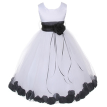 White Satin Bodice Layers Tulle Skirt Black Flower Ribbon Brooch and Petals - $48.00
