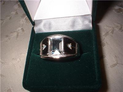 Men's White Gold Plated Crystal Ring Sz 13 NIB