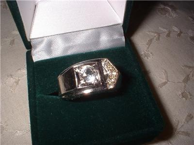 Men's White Gold Plated Crystal Ring Sz 10 NIB