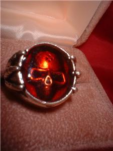 Skull Harley Biker Blood Red Ring