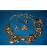 Vintage Jewelry  Roses RS Necklace Earrings - $17.00