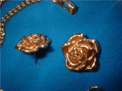 Vintage Jewelry  Roses RS Necklace Earrings