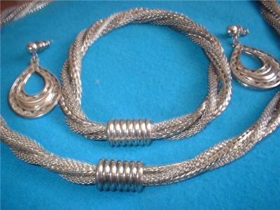 Vintage Jewelry Silver Twisted Necklace Bracelet Set