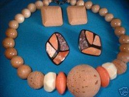 Vintage Cork & Wood Chunky Necklace 2 Pair Earrings - $15.00