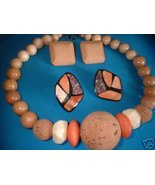 Vintage Cork & Wood Chunky Necklace 2 Pair Earrings - $15.00